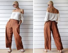 Italian vintage brown pure linen relaxed fit elastic waist wide leg pants trousers S