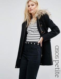 ASOS Petite | ASOS PETITE Wool Blend Faux Fur Hooded Duffle Coat