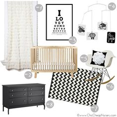 black and white nursery design board #inspiration - Great contrast for newborn eyes