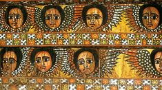 Ethiopian angels in the medieval city of Gondar. The ceiling of Debre Berhan Selassie Church has 104 angels, each an individual with a unique expression.