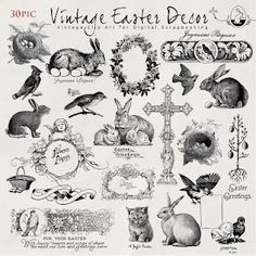 vintage Easter pin and ink scrap