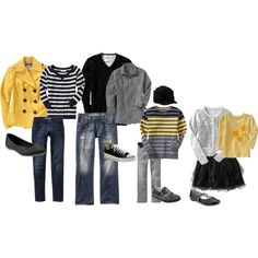 What to Wear Urban #family #photographpy So excited to see these colors work well together for photographs b/c these are the colors I chose for our photos coming up soon.  Gray, Yellow, Navy,