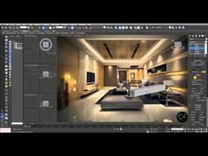 3D Studio Max - Living Room Part-1 - YouTube 3d Design App, 3ds Max Design, Architecture 101, Architecture Portfolio, Autocad, Interior Lighting, Lighting Design, 3d Max Tutorial, Vray Tutorials