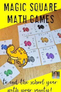 Are you looking for math games to help end the school year with your sanity? Then you're going to love these Magic Square Puzzles! Math 8, Maths Puzzles, Free Math, Kindergarten Math, Teaching Math, Math Activities, Teaching Ideas, Preschool, Magic Squares Math