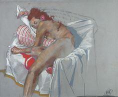 Stripes Pillows - Pastel Gras sur Papier - 50 x 65 cm