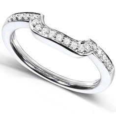 1/10 Carat TW Round Diamond Contoured Wedding Band in 14k White Gold - Size 6.5 -- Startling review available here  : Wedding Rings Jewelry