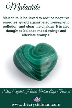 Malachite ~ Chakra Clearing-Energy Protection-Mood Swings-Cramps Now more new crystals at The Crystal Man! Chakra Crystals, Crystals Minerals, Rocks And Minerals, Crystals And Gemstones, Stones And Crystals, Gem Stones, Crystal Guide, Crystal Magic, Crystal Healing Stones