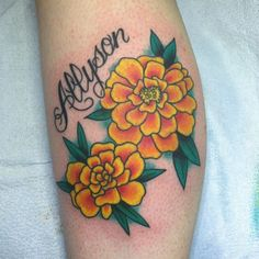 I want something like or similar to this for my dad's memorial tattoo. His favorite flower was marigolds. They are strong and hearty flowers like he always was ❤️