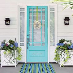 * I love the house number on the bottom panel of the front door... the color is a little brighter than I'd like... Coastal Blue front door