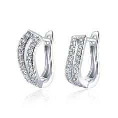 Double Row Diamond Clip On Earrings