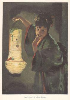 c1900 Art Print Girl Japanese Kimono Paper Lantern Might Fest by Bruno Piglhein