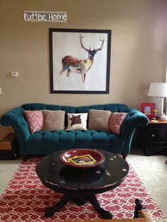 {Wall art for a large wall - Deer Wearing Gym Socks over a velvet teal tufted Thomasville sofa} Home Living Room, Living Room Decor, Living Spaces, Teal Couch, Tufted Sofa, Home Wall Art, Unique Home Decor, Home Projects, Pallets
