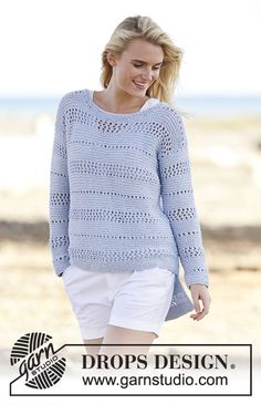 Knitted DROPS jumper in garter st with lace pattern in Paris. Free knitting pattern by DROPS Design. Drops Design, Knitting Patterns Free, Knit Patterns, Free Knitting, Free Pattern, Crochet Cardigan, Knit Crochet, Summer Knitting, Crochet Clothes