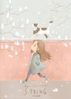For all little girls who are cat lovers, check out Spring, an illustration by English artist Summer Bee. Perfect wall art for girls who love cats and nature Art And Illustration, Illustration Mignonne, Art Mignon, Kawaii, Cat Art, Art Drawings, Character Design, Artsy, Sketches