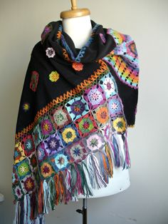 Handcrocheted Black Shawl ,Crocheted Flowers on Polar Fleece Cloth edged with Granny Squares