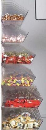 "Visi Bins Slatwall Display Package - $599 - 60 containers on a slatwall. 7.5"" Vis-Bins + 9.5"" VisiBins"
