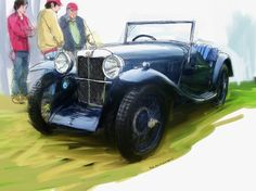"""""""1933 MG J2"""" by RG McMahon, Thousand Oaks // This is a scene showing a proud owner of a beautifully restored old MG discussing his car from Central Coast British Car Club car show in Ventura California. Lots of great old British cars there from Rolls Royce to Bug Eye Sprites. // Imagekind.com -- Buy stunning, museum-quality fine art prints, framed prints, and canvas prints directly from independent working artists and photographers."""