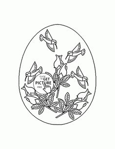 Little Bunny and Duck painting Easter Egg coloring page