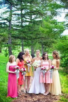 Love the mismatched bridesmaids dresses Mismatched Bridesmaid Dresses, Wedding Bridesmaid Dresses, Wedding Trends, Wedding Ideas, Wedding Stuff, Wedding Fun, Rainbow Wedding, Wedding Dress Accessories, Wedding Images