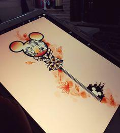 In Brave design Disney Key Tattoo, Mickey Tattoo, Disney Sleeve Tattoos, Cute Disney Tattoos, Key Drawings, Cute Drawings, Tattoo Drawings, Tattoo Art, Key Tattoos