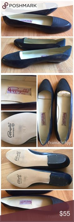 NWOT Pappagallo leather & linen flats 9.5 Never worn NWOT Pappagallo navy blue leather flats with linen inset at toe box. beautiful and comfortable. Size 9.5 made in Spain. Pappagallo Shoes Flats & Loafers
