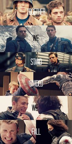 """(Marvel) + (Steve Rogers/Captain America // Bucky Barnes/Winter Soldier) + (""""Together we stand, divided we fall"""") Steve Rogers, Sebastian Stan, The Avengers, Marvel Dc Comics, Marvel Heroes, Capitan America Chris Evans, Captain America And Bucky, Captain America Quotes, Captain America Aesthetic"""