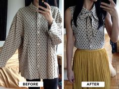 "<3 ""DIY Blouse Makeover: Transform a baggy blouse into a fitted bow top! If you are handy with a sewing machine, and addicted to thrift stores, this tutorial is perfect for you! Follow the tutorial at Extra Petite"""