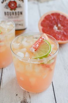 Grapefruit-Ginger Bourbon Sour is just the right amount of sweet and sour deliciousness! Great recipe for a cocktail party.