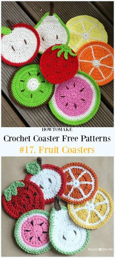 Crochet Fruit Coasters Free Pattern - Easy #Crochet Coaster Free Patterns