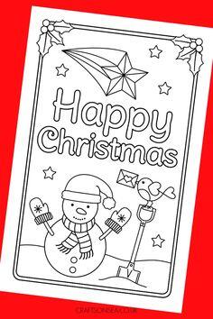 Snowman Christmas Card to Colour