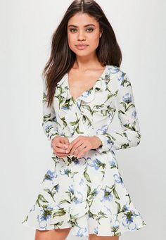 White Base Floral Print Ruffle Tea Dress - Missguided 8a468b841