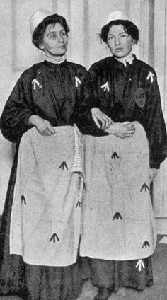 Emmeline Pankhurst and her daughter Christabel in prison dress, 1914. My Own Story by Emmeline Pankhurst. London: Virago Ltd., 1979. Originally printed 1914 by Hearst's International Library Co. USA. ISBN 0-86068-057-6