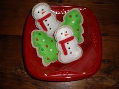 Snowman/Christmas Tree Felt Cookies by LizzysBiz on Etsy