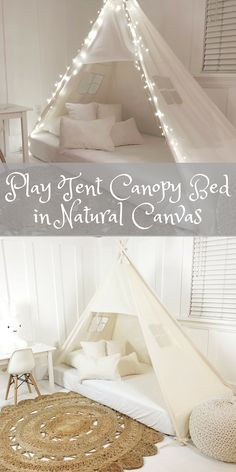 Its a play tent shaped bed canopy that fits over top of your mattress on the floor (you choose the size). This is perfect for you toddler who is transitioning from being into a crib to a bed.    Etsy    Kids Crafts, Kids Bedroom, kids bedroom ideas, Kids Playroom, kids playhouse, Bedroom ideas, Bedroom decor, Bedroom decor Ideas, Bedroom decor grey, Home decor, Home decor Ideas, home ideas, Home design, Home design inspiration