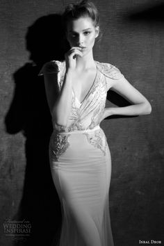 inbal dror wedding dresses 2013 2014 beaded deco gown cap sleeves