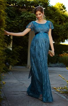 Elsa Maternity Gown Long Lagoon Blue - Maternity Wedding Dresses, Evening Wear and Party Clothes by Tiffany Rose.