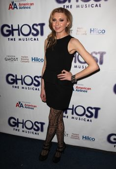 Nina Arianda (Venus in Fur) rocking patterned tights at the opening night of Ghost the Musical