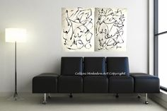 LARGE Original Abstract Modern Black and White by LoriMarie, $425.00