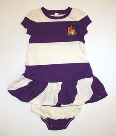 NWT Ralph Lauren Baby Girls Dress & Panty Set Striped Crest Short Sleeves 12 M #RalphLauren #DressyEveryday