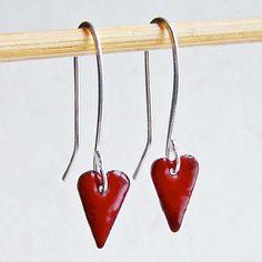 Items similar to Burgundy Red Heart Dangle Enamel Earrings, Kiln-Fired Glass Enamel and Sterling Silver on Etsy Fire Glass, Heart Earrings, Clothes Hanger, Dangles, Burgundy, Enamel, Unique Jewelry, Handmade Gifts, Sterling Silver