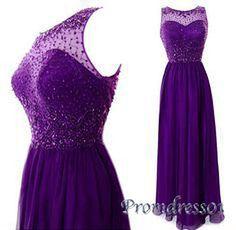 Beaded long prom dress, 2016 elegant purple chiffon evening dress, modest prom dress for teens #coniefox #2016prom