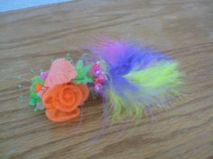 Hair Barrette accessory Flower And Feathers  by UndergroundSkunk, $7.99