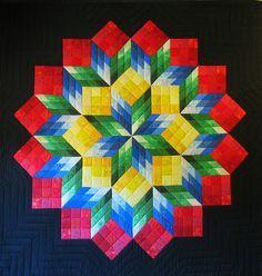 Quilt illusions   Tumbling Blocks Quilt, variation. Puzzling World, Wanaka, NZ. - a ...