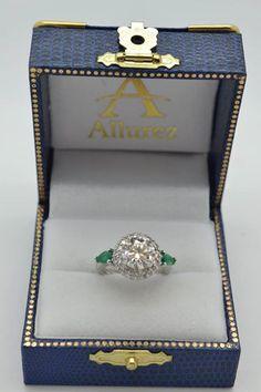 Pear Cut Emerald & Diamond Engagement Ring Setting Platinum 0.75ct - Allurez.com