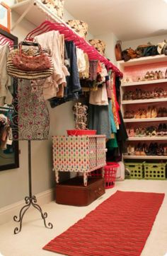 Walk in Closet makeover. Just a few more ideas in case I ever have a walk in closet.