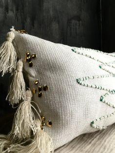 Moroccan Inspired Lumbar Pillowcase Tassels Moroccan Wedding Fringe Pillow Blanket by TaisaSilecky