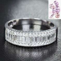 Baguette/Round DIAMOND WEDDING BAND ENGAGEMENT RING 14K WHITE GOLD 1.37ct - Lord of Gem Rings - 1