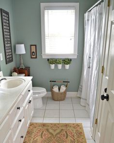 Holiday Ready Bathroom Refresh With BEHR Marquee Paint From At Home With  The Barkers   I Like The Wall Color And The Rug Pattern.