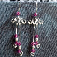 Pink Swarovski earrings fuschia Sterling by LindenTreeJewelBox, $14.90