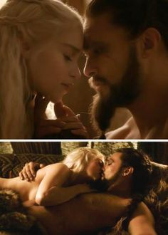 Game of Thrones (series 2011 - ) Starring: Emilia Clarke as Daenerys Targaryen and Jason Mamoa as Khal Drogo.